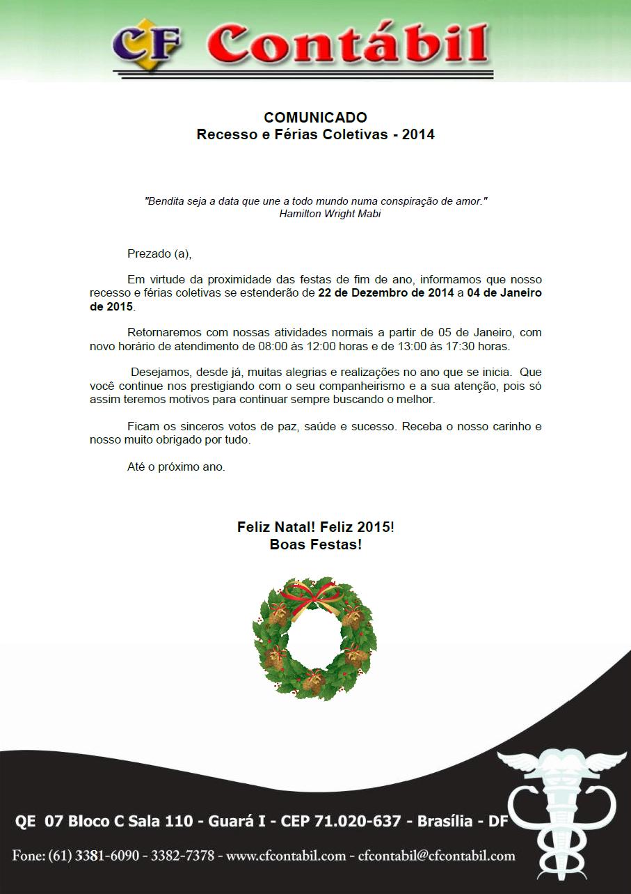 CF CONTABIL - Recesso e Ferias 2014